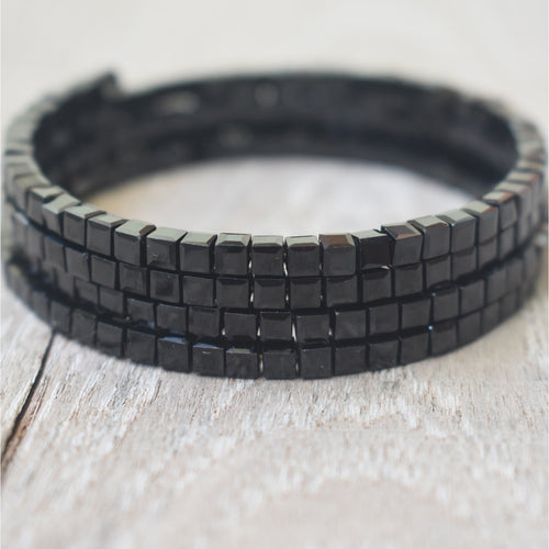 Black Spinel Square Beads Adjustable 4-Loop Memory Wire Bangle, Bracelet