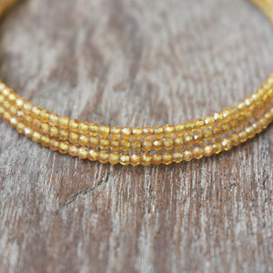 Yellow Tourmaline Gemstone Adjustable 3-Loop Memory Wire Bangle, Bracelet