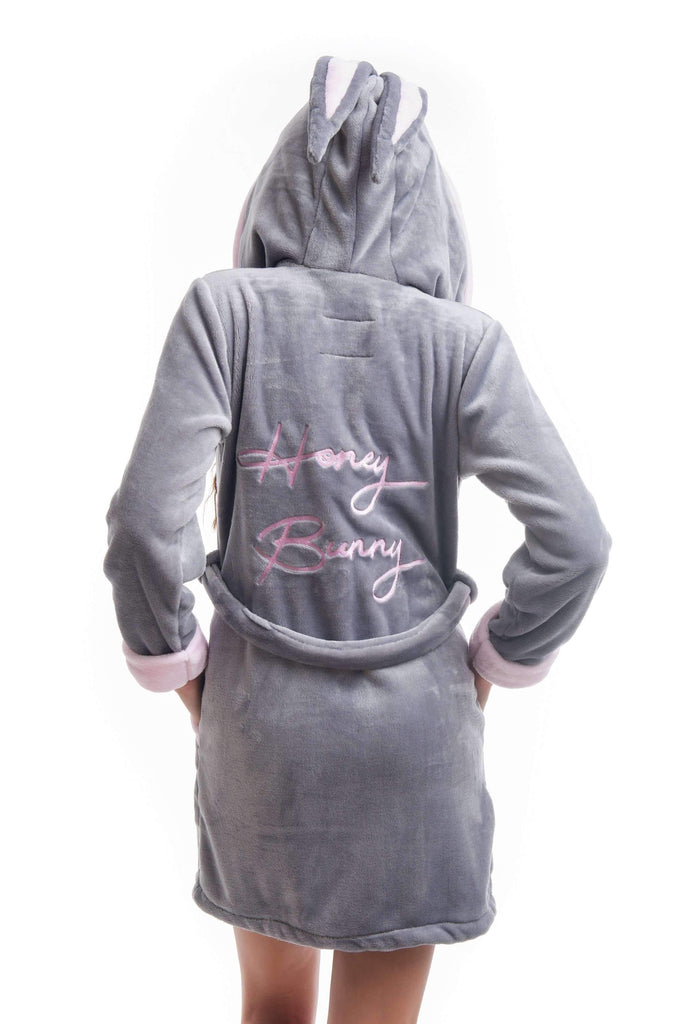 "DH BATHROBE, embroidered ""honey bunny"" gray-rose - Poppy Diary"