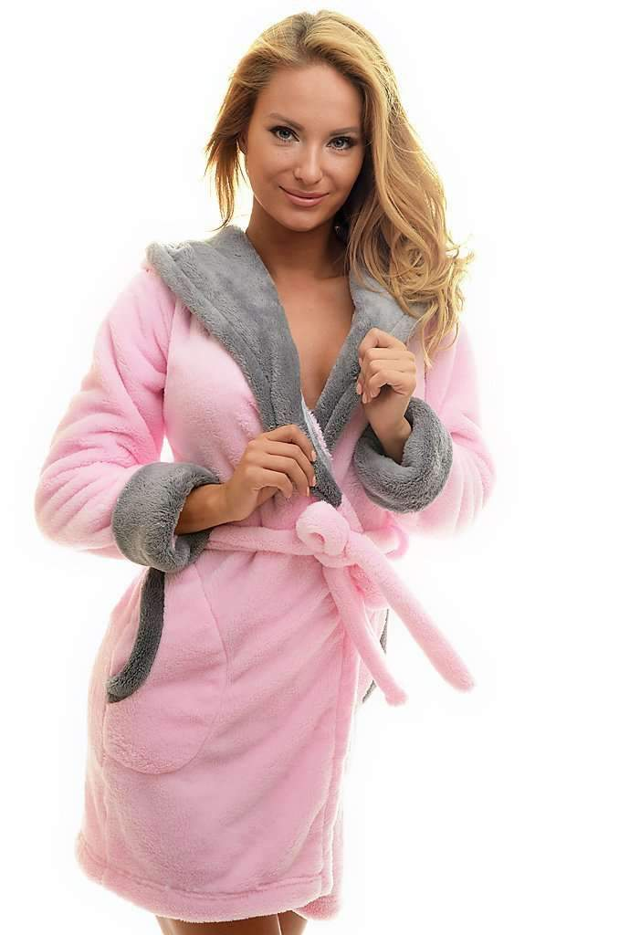 DK BATHROBE, embroidered mouse, rose-gray - Poppy Diary