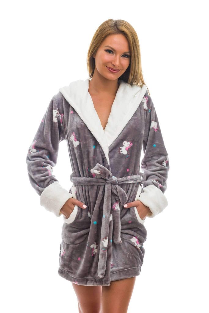 DK BATHROBE, patterned unicorn, gray-ecru - Poppy Diary
