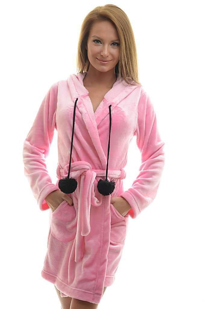 LONG BATHROBE, medium pink-black - Poppy Diary