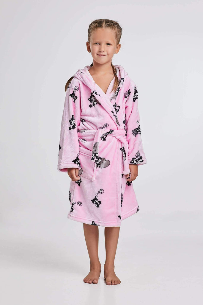 KIDS BATHROBE, patterned cat, rose-black - Poppy Diary