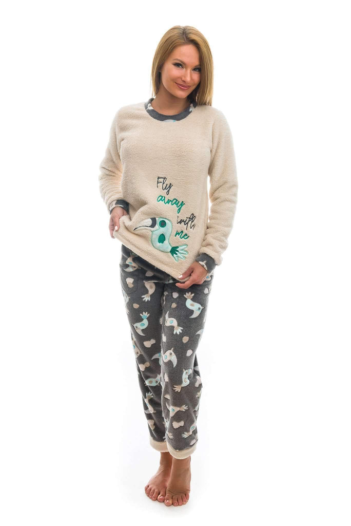 NICE PAJAMA, patterned/embroidered cockatoo, gray-coffee-turquoise - Poppy Diary