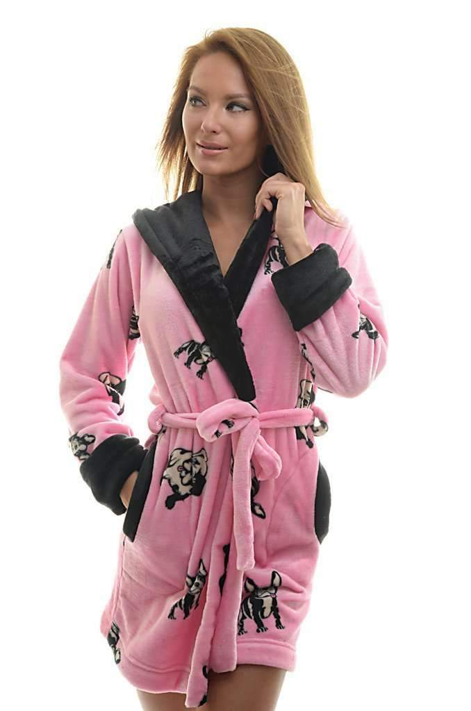 DK BATHROBE, patterned french bulldog, medium pink-black - Poppy Diary