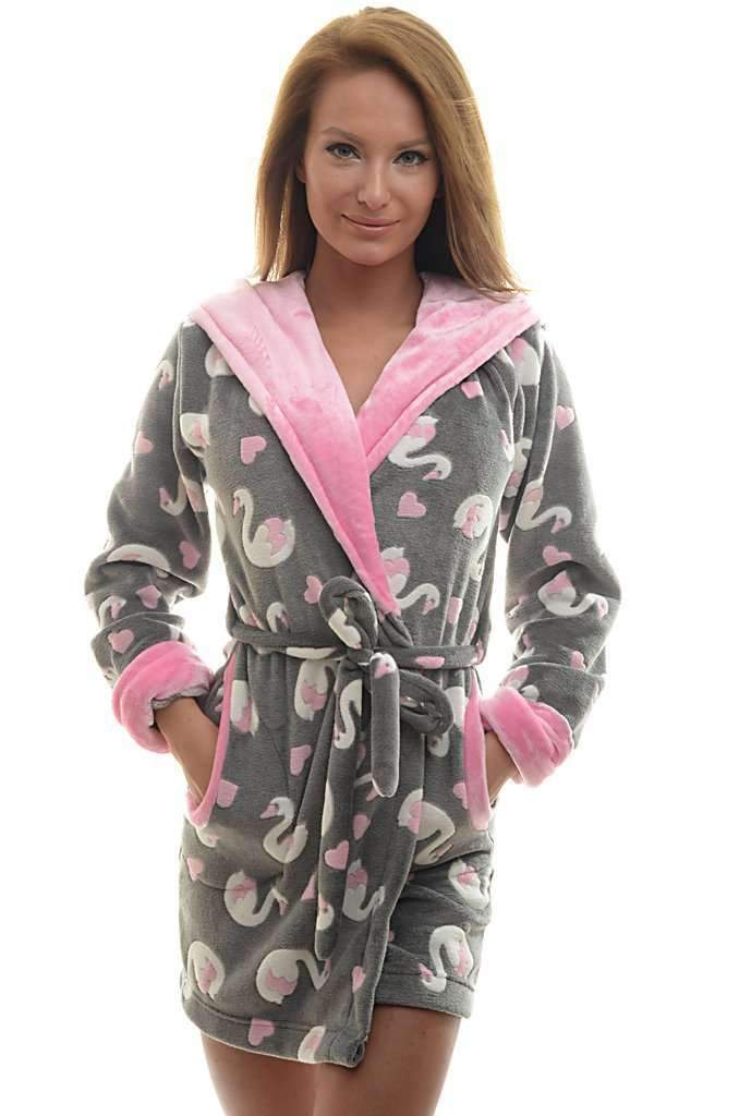 DK BATHROBE, patterned swan, gray-medium pink-ecru - Poppy Diary