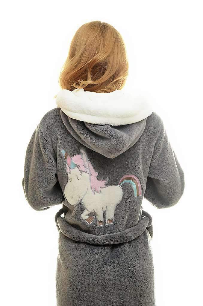 DK BATHROBE, embroidered unicorn, gray-ecru - Poppy Diary
