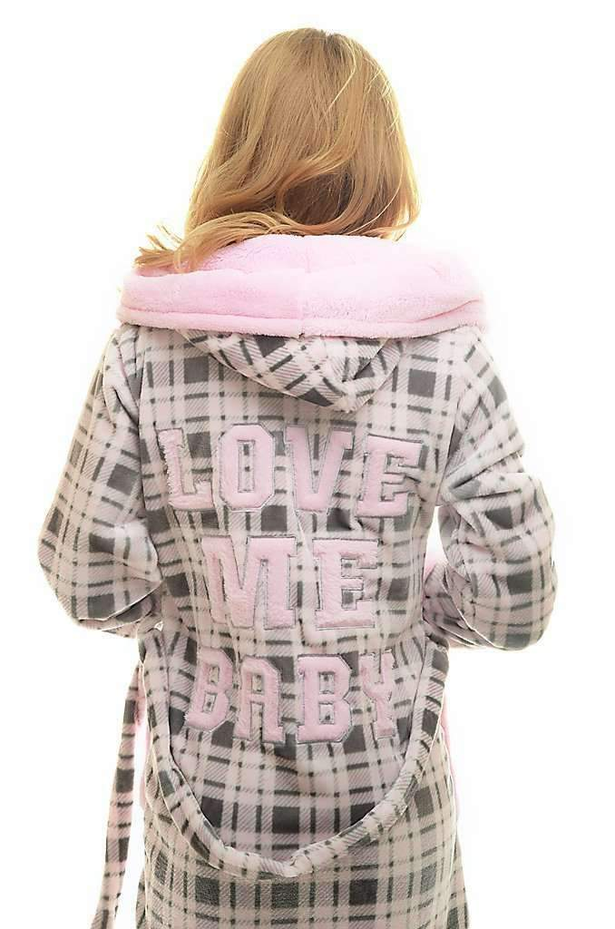 "DK BATHROBE, embroidered checkered ""love me baby"", gray-rose - Poppy Diary"