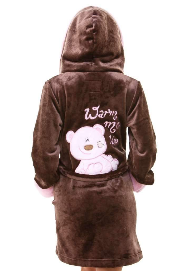 DK BATHROBE, embroidered teddy bear, brown-rose - Poppy Diary