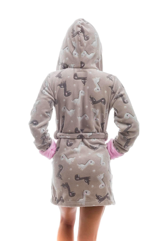 DK BATHROBE, patterned dinosaur, brown-rose - Poppy Diary