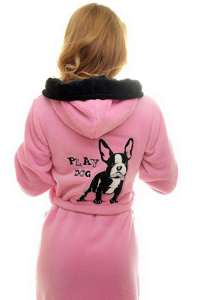 DK BATHROBE, embroidered french bulldog, medium pink-black - Poppy Diary