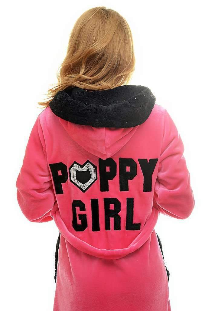 "DK BATHROBE, embroidered ""poppy girl"", pink-black - Poppy Diary"