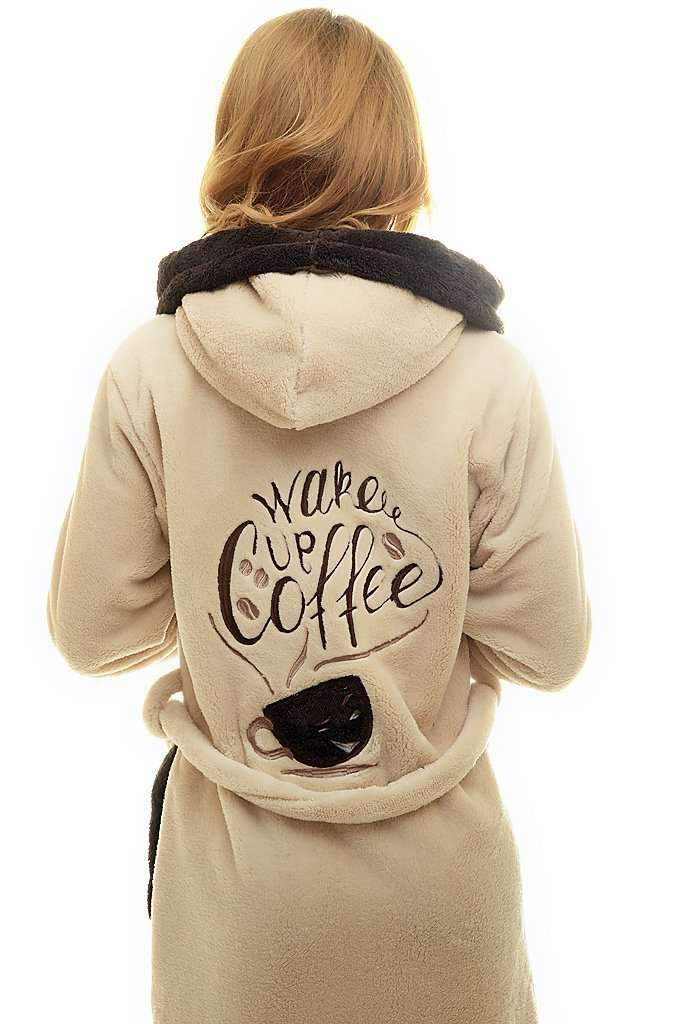 "DK BATHROBE, embroidered ""wake up coffee"", coffee-brown - Poppy Diary"