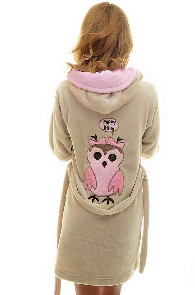 DK BATHROBE, embroidered owl, coffee-rose - Poppy Diary