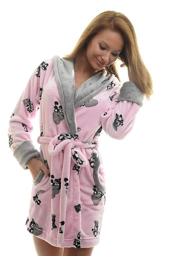 DK BATHROBE, patterned cat, rose-gray - Poppy Diary