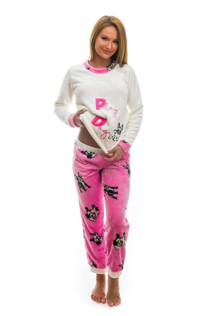 NICE PAJAMA, patterned/embroidered french bulldog, medium pink-ecru - Poppy Diary