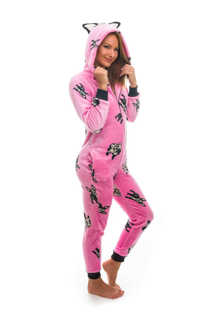 FRUTTY OVERAL, onesie for women french bulldog, medium pink-black - Poppy Diary