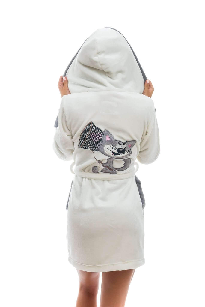 DK BATHROBE, embroidered cat, ecru-gray - Poppy Diary
