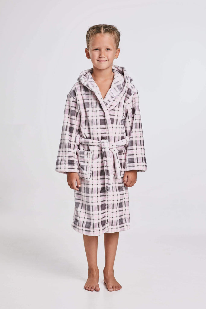 KIDS BATHROBE, checkered, gray-rose - Poppy Diary