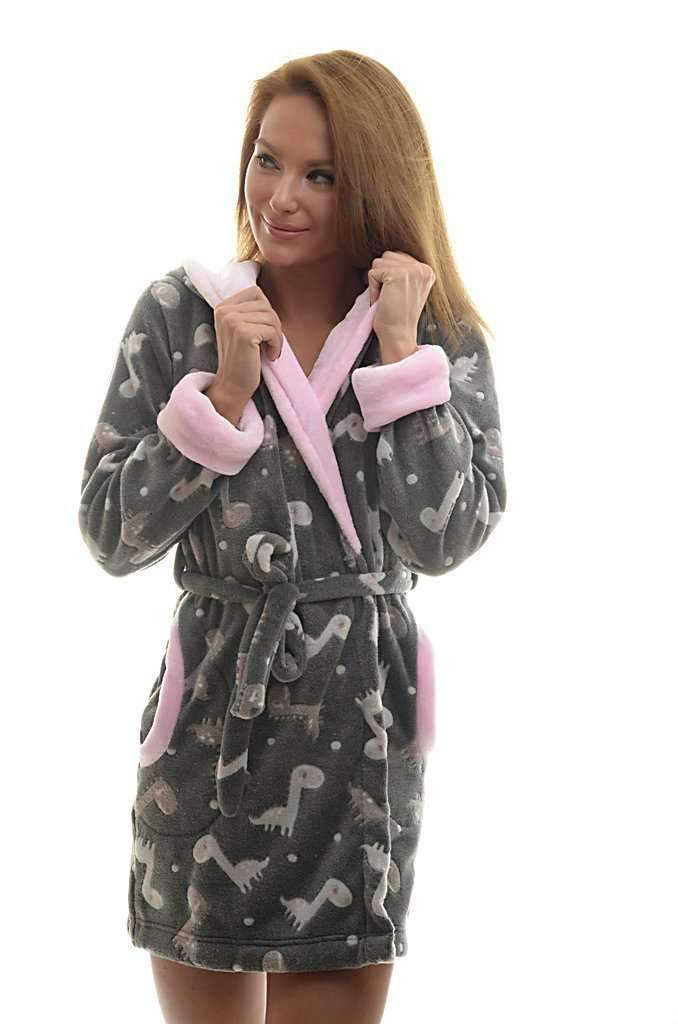 DK BATHROBE, patterned dinosaur, gray-rose - Poppy Diary