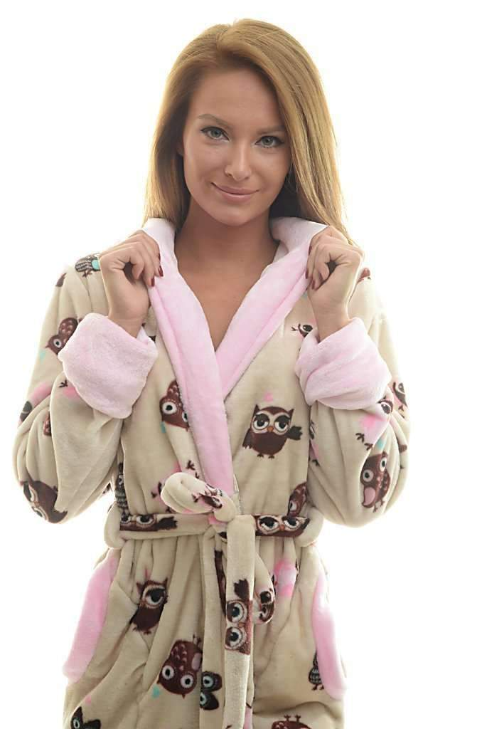 DK BATHROBE, patterned owl, coffee-rose - Poppy Diary
