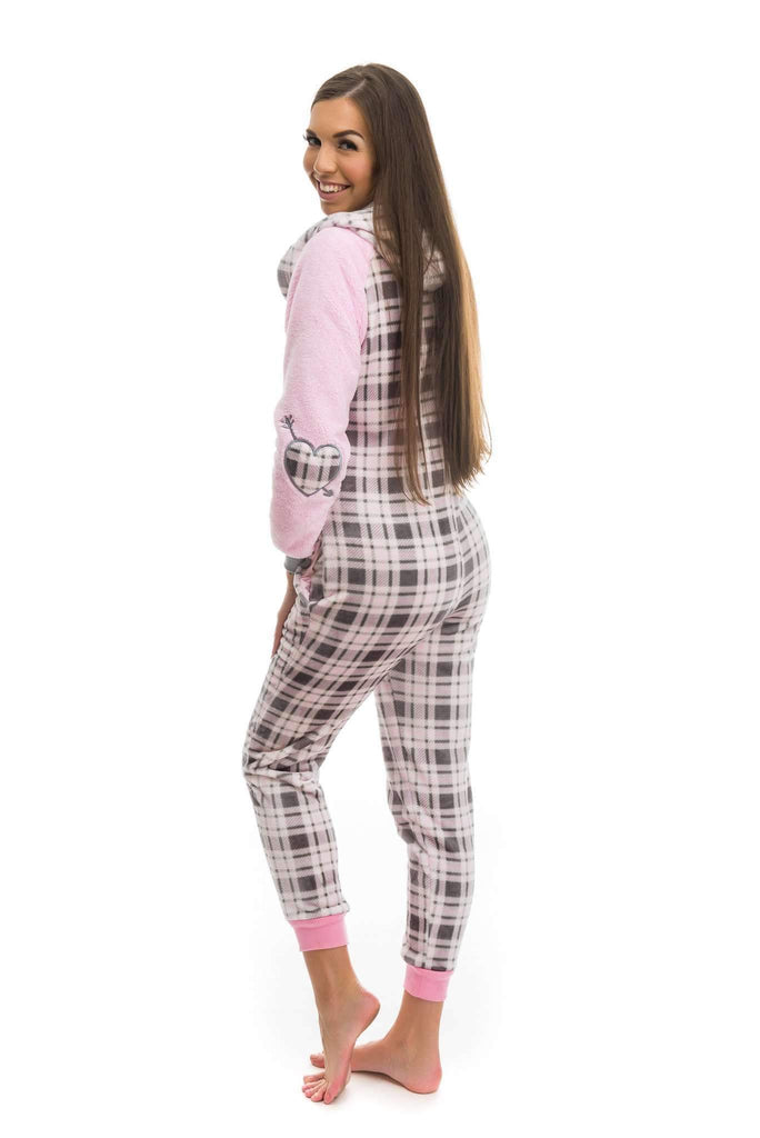 FRUTTY OVERAL, onesie for women, embroidered love pink, checkered gray-rose - Poppy Diary