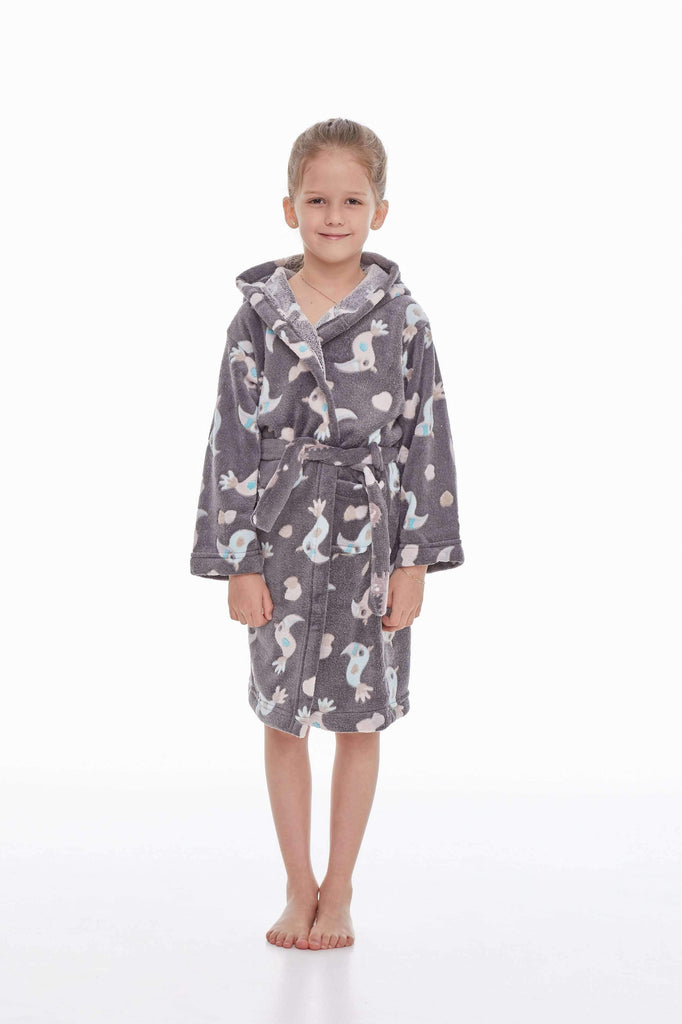 KIDS BATHROBE, patterned cockatoo, gray-turquoise - Poppy Diary