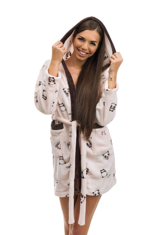 CUTE BATHROBE, patterned panda, peach-brown - Poppy Diary