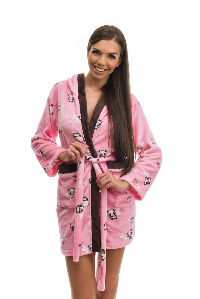 CUTE BATHROBE, patterned panda, rose-brown - Poppy Diary