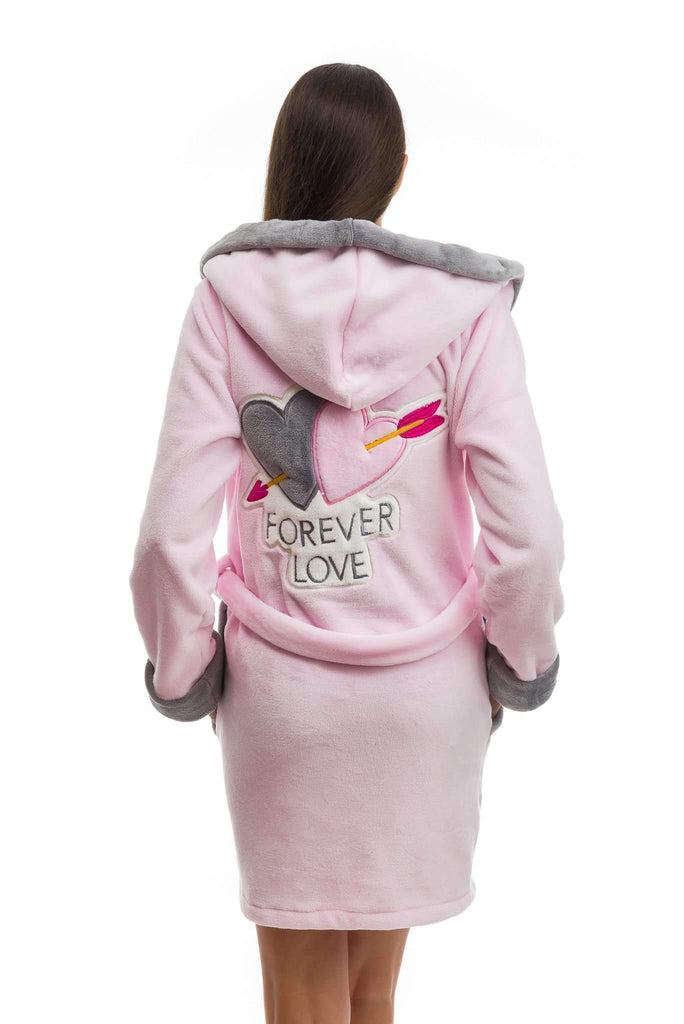 "DH BATHROBE, embroidered ""forever love"", rose-gray - Poppy Diary"