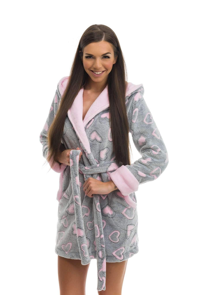 DH BATHROBE, patterned heart, gray-rose - Poppy Diary