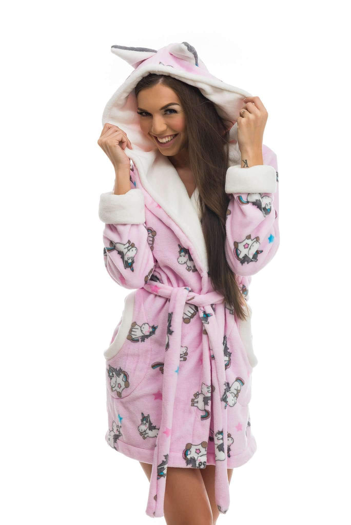 DH BATHROBE, patterned unicorn, rose-ecru - Poppy Diary