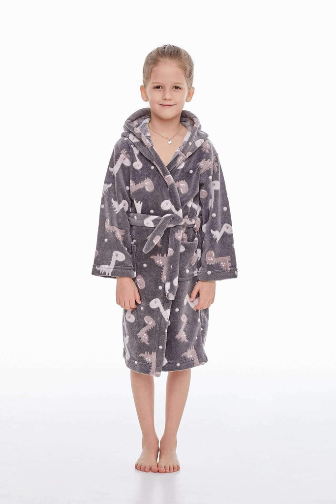 KIDS BATHROBE, patterned dinosaur, gray-brown - Poppy Diary