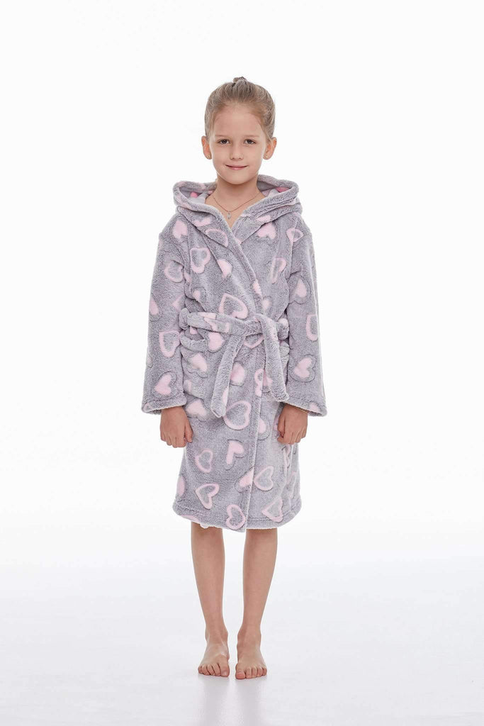 KIDS BATHROBE, patterned heart, gray-rose - Poppy Diary