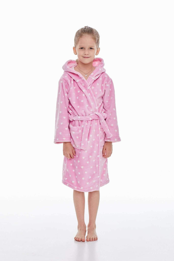 KIDS BATHROBE, patterned little heart, medium pink-ecru - Poppy Diary
