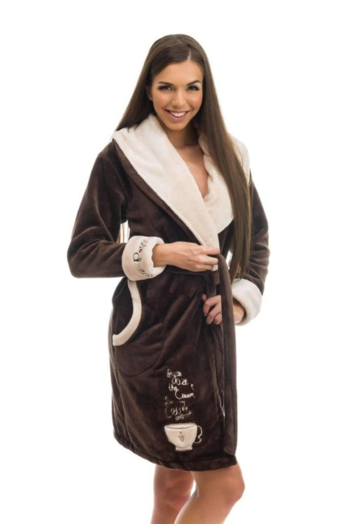 "RC BATHROBE, embroidered ""wake up coffee"", brown-coffee - Poppy Diary"