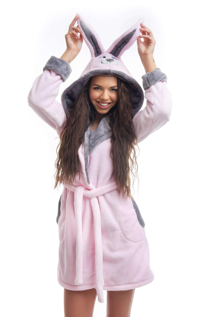 "DH BATHROBE, embroidered ""honey bunny"", rose-gray - Poppy Diary"
