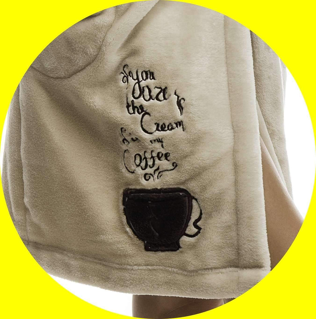 DH BATHROBE, embroidered wake up & smell the coffee, coffee-brown - Poppy Diary