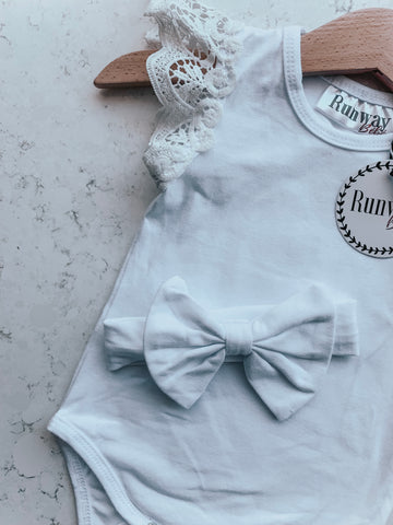 White Flutter With Matching Bow