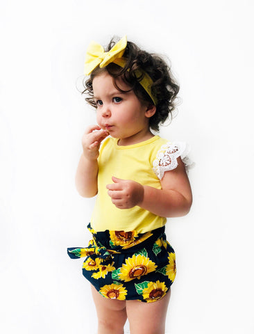 Lemon lace flutter with matching headband