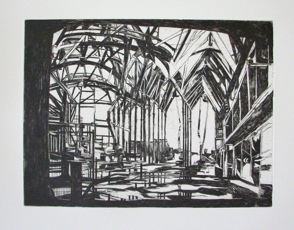 Patricia Cain 'Centre Space' etching edition of 10 (available framed) Broth Art