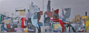 Patricia Cain 'Cityscape' mixed-media diptych (framed)