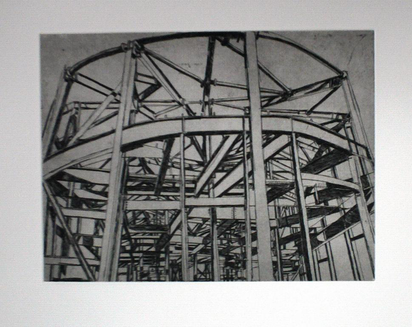 Patricia Cain 'Cornerstone' etching edition of 10 (available framed) Broth Art