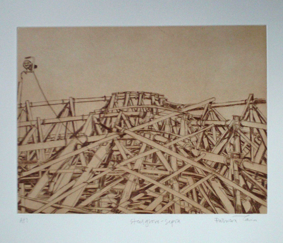 Patricia Cain 'E7 Steel Grove Sepia' etching edition of 10 (available framed) Broth Art