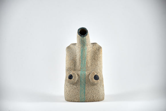 Title: Figure Vessel Artist: Sally Fitchard Medium: clay sculpture Size: 17.8 cm x 9.7 cm x 6.5 cm (front view). Colours comprise- natural, black, lichen green