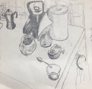 Title: Kitchen Sketch II Artist: Stacey Gledhill Medium: pencil on fabriano paper Size: 25cm x 25cm (unframed) Broth Art