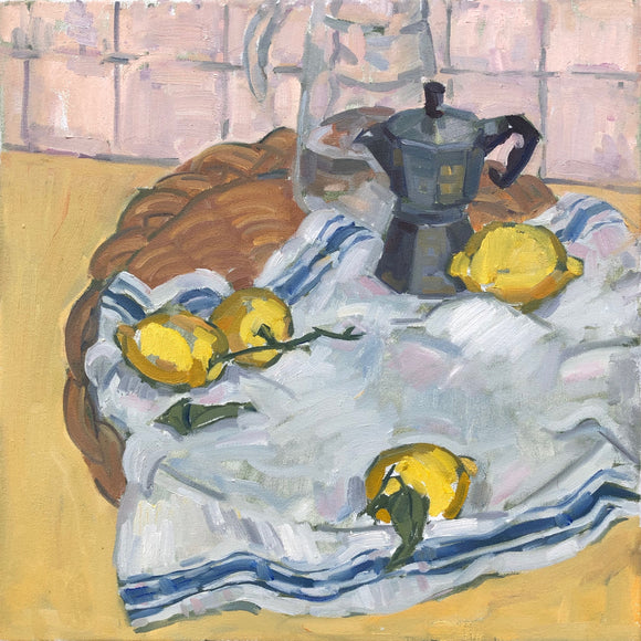 Title: Meyer Lemons Artist: Stacey Gledhill Medium: oil on cotton Size: 50cm x 50cm (unframed) Broth Art