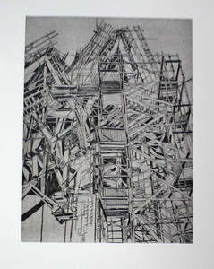 Patricia Cain 'Southside Elevation' etching edition of 10 (available framed) Broth Art