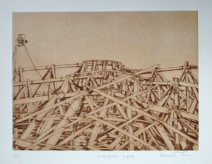 Patricia Cain 'Steel Grove (Sepia)' etching edition of 10 (available framed) Broth Art