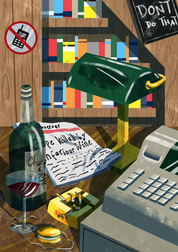 Title: Still Life ft Bernard Black's Desk Artists: Daryl Rainbow Medium: digital drawing on paper 300 gsm (framed) Edition of 10 Size: 42 cm x 30 cm  'Still Life Featuring' is an ongoing series of still life/digital illustrations that reference lyrics from landmark albums and moments from our most-loved TV shows. Guess  which TV show this references! BROTH ART